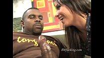 Interracial blowjob with hot brunette slurping on black cock