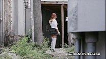 Banging broke busty waitress on video
