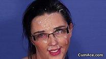 Kinky sex kitten gets sperm load on her face sw... thumb
