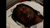 Horny black nurse Desire Devil Len rides black stud on his hospital bed thumbnail