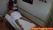 Chubby Asian Tugging Masseuse Gives Handjob