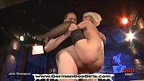 Dirty bukkake blondie gets shared between a gro...