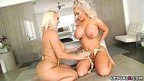Sexy Brandi Bae and Nina Kayy first lesbian anal experience