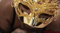 Masked Ebony Chick Sucks Dick on Hoodcherries video