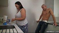 Horny guy bangs cooking BBW thumb