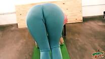 panna master ⁃ Bubble butt tiny waist teen has big cameltoe in lycra bodysuit. thumbnail