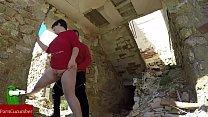 Couple fucking between ruins