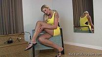 Hot Blonde MILF Striptease and Hitachi Masturbation to Orgasm porn image
