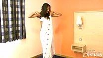 Gujarati Indian College Girl Divya In White Pearl Sari Striptease Show