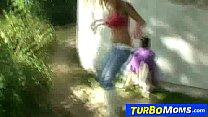 Threesome sex in park with euro milf Klarisa Leone