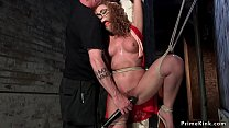 Redhead gagged and clamped slave whipped