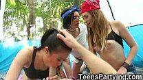 Teen Besties Share Cum on Camping Trip!