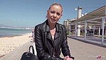 GERMAN SCOUT - Urlauberin Julia am Ballermann 6 auf Mallorca bei echtem Strassen Casting AO gefickt