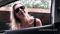 Blonde teen htich bangs stranger outdoor thumbnail