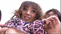 Mai Serizawa In Pink Cheetah Lingerie Fucked By Two Guys