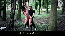 tied naked in the woods