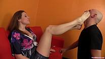 Mistress Shauna dominates her foot slave