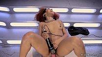 Ebony redhead beauty fucking machine