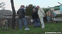 Old Farmer Wife Takes The Hard Cock In The Backyard