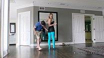 Blonde girlfriend in cut blue pantyhose fucks