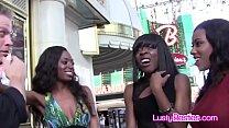 Black besties sharing white dick in Vegas