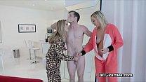 Three hotties sharing pranking roomies cock thumbnail