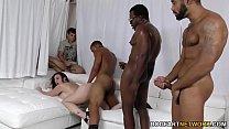 Sara Jay gets ganbanged by black dudes in front...