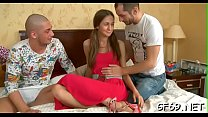 Naughty asian gets her chaste fur pie expended by 2 dudes