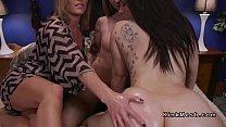 Brunette Milf anal fucks two lesbians pornhub video