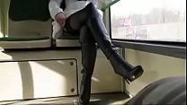 Best Mom Flashing on Bus Boots Stockings. See pt2 at goddessheelsonline.co.uk thumbnail
