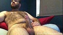 Hairy Bear Jerking and Cumming