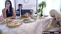 Mom Fucks Son & Eats Teen Creampie For Thanksgiving Treat thumbnail