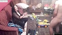 Spy camera records couple fucking in the living room. JAV245 صورة