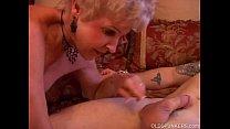 Gorgeous cougar sucks cock and eats cum image