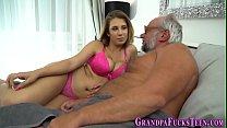 Teen spunked by grandpa