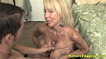 Handjob loving granny pampering dick