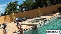 Teen coeds in bikini orgy by the pool thumbnail