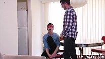 Gay father fucks blindfolded son bareback