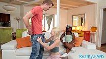 Ebony teen assfucking in real threesome Image