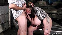 Big tits woman at work swallows his dick