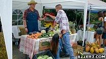 farmers wife Eva Lovia bangs in the market