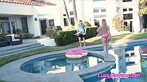 Spying neighbor fucks bikini besties by the pool