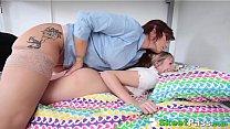 Lesbian seduces cute teenager