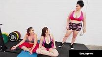 Busty MILF Sara Jay, Gia Love, & Angelina Castro Do Some Lesbian Yoga!