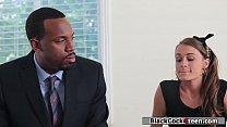 Brunette fucks stepdads black employee