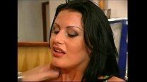 Classy brunette in black stockings fucked by waiter porn image