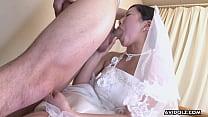 Sweet Japanese woman Emi Koizumi swallows a hai...
