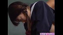 Skinny Sayaka Tsutsumi spreads her legs for hug...