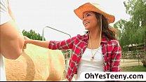 Teen cowgirl Gabriella Ford rides a massive dick and receives cum thumbnail