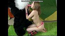 sucks teddy bear with a pink dildo image